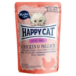 Happy Cat Pouches All Meat Junior Huhn & Seelachs 85 g - 20 + 4 Aktion