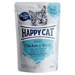 Happy Cat Pouches Meat in Sauce Adult Huhn & Forelle 85 g - 20 + 4 Aktion