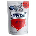 Happy Cat Pouches Meat in Sauce Adult Kalb & Leber 85 g - 20 + 4 Aktion